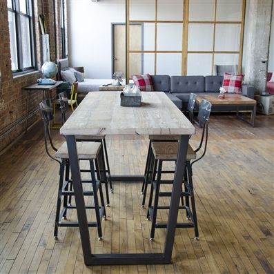 Reclaimed High Top Table Standing Height Bistro Restaurant Pub With Steel Legs In Your Choice Of Color Size And Finish