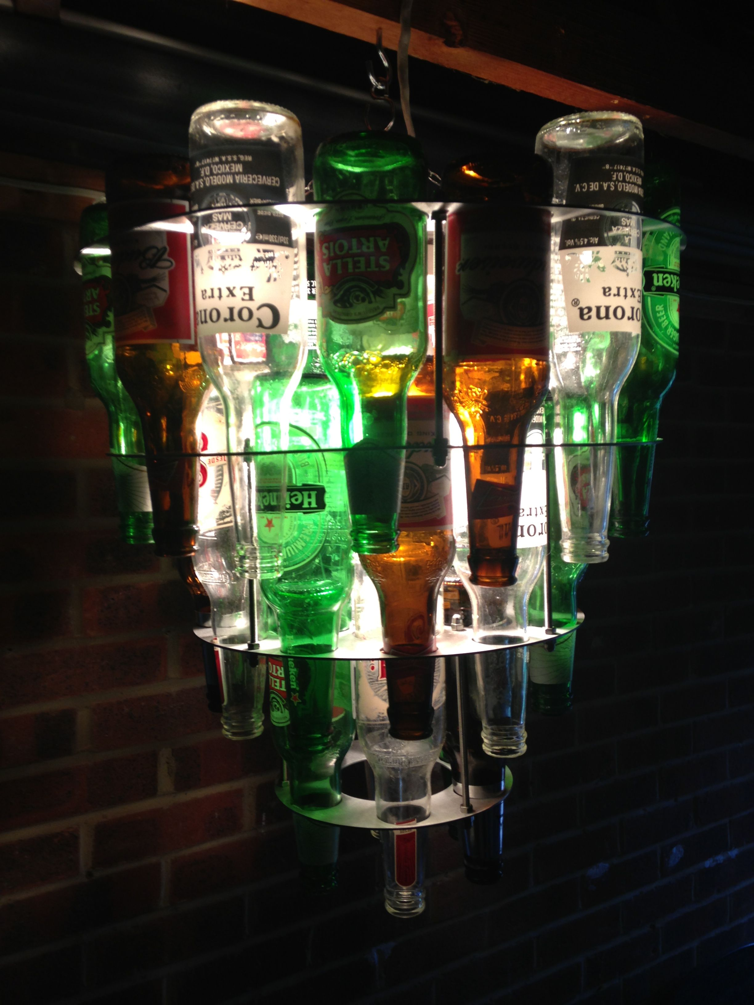 Beer bottle chandelier do it yo self pinterest beer bottle beer bottle chandelier arubaitofo Images