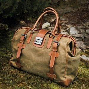 Waxed Cotton Safari Bag by J.L. Powel, $485 (19*13.5*10) by cocopixie