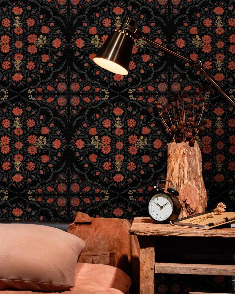 HINDU BLOOM Anthracite in 2020 Designer wallpaper
