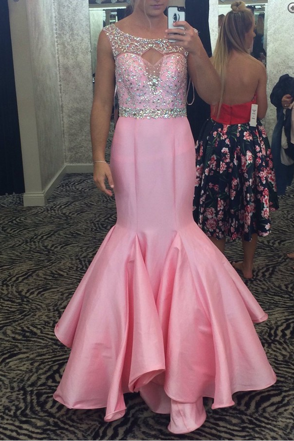 Gorgeous Beaded Pink Mermaid Prom Dress, Illusion Formal | ( Prom ...
