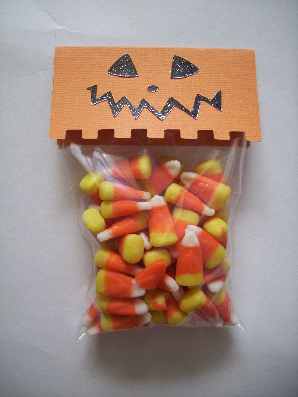 Halloween Treat Bags With Pumpkin Face Topper Cellophane
