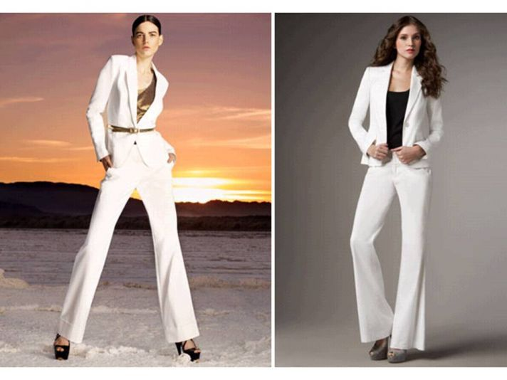 2011 Bridal Trend: A White Tailored Suit for Your Rehearsal Dinner   OneWed