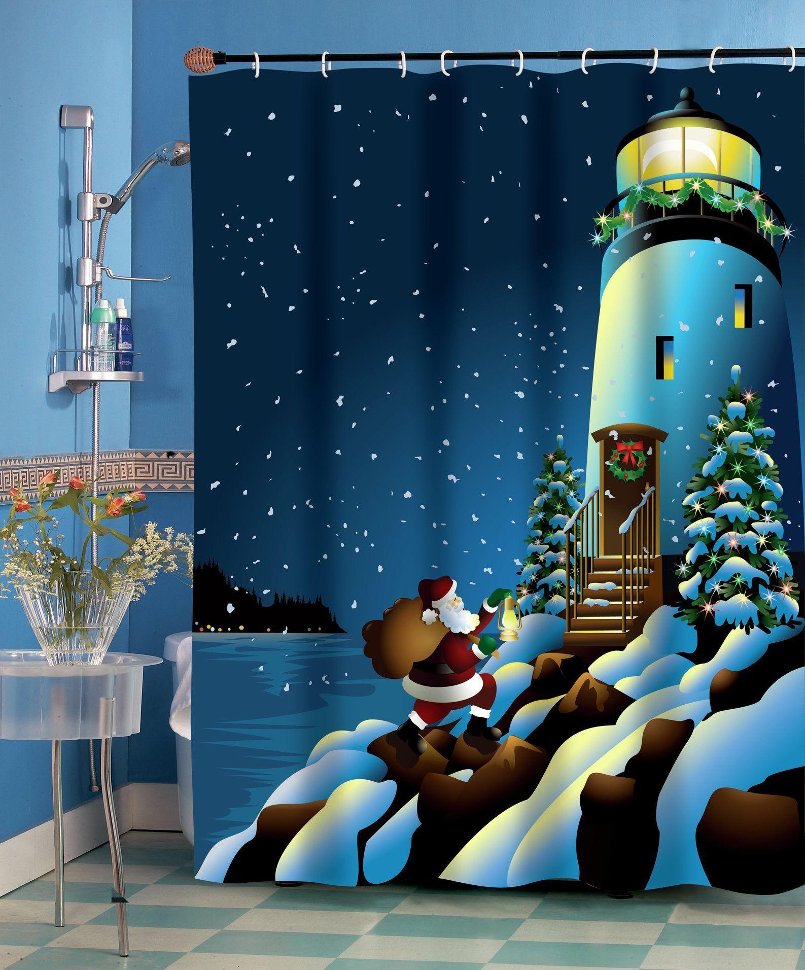 Holiday Lighthouse Shower Curtain Curtains Bathroom Hooks