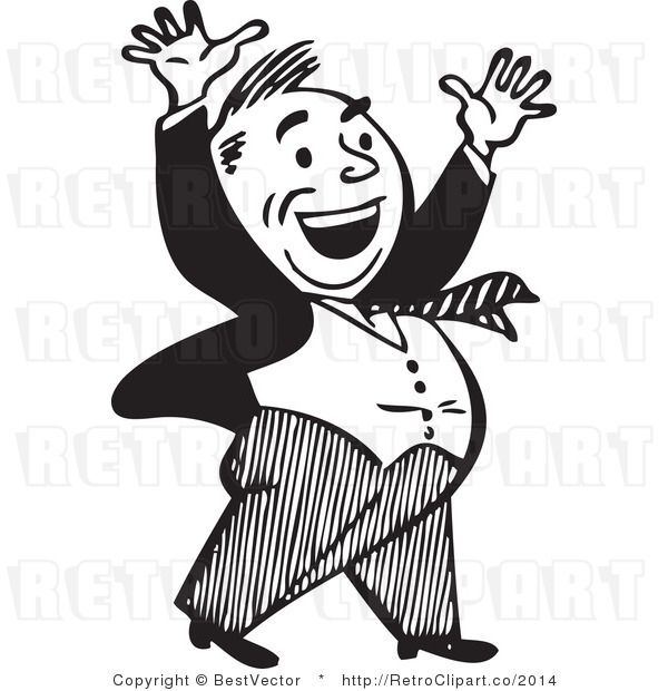 Excited Retro Business Man Waving Around With A Big Smile Black And White Vector 22074 Black And White Cartoon Retro Illustration Portrait Cartoon