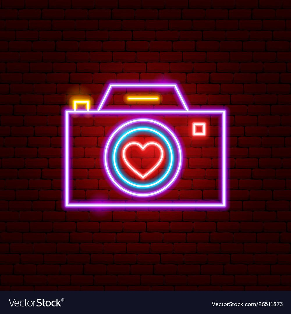 Love Camera Neon Sign Vector Image On Vectorstock In 2020 Neon Signs Wallpaper Iphone Neon Neon Wallpaper