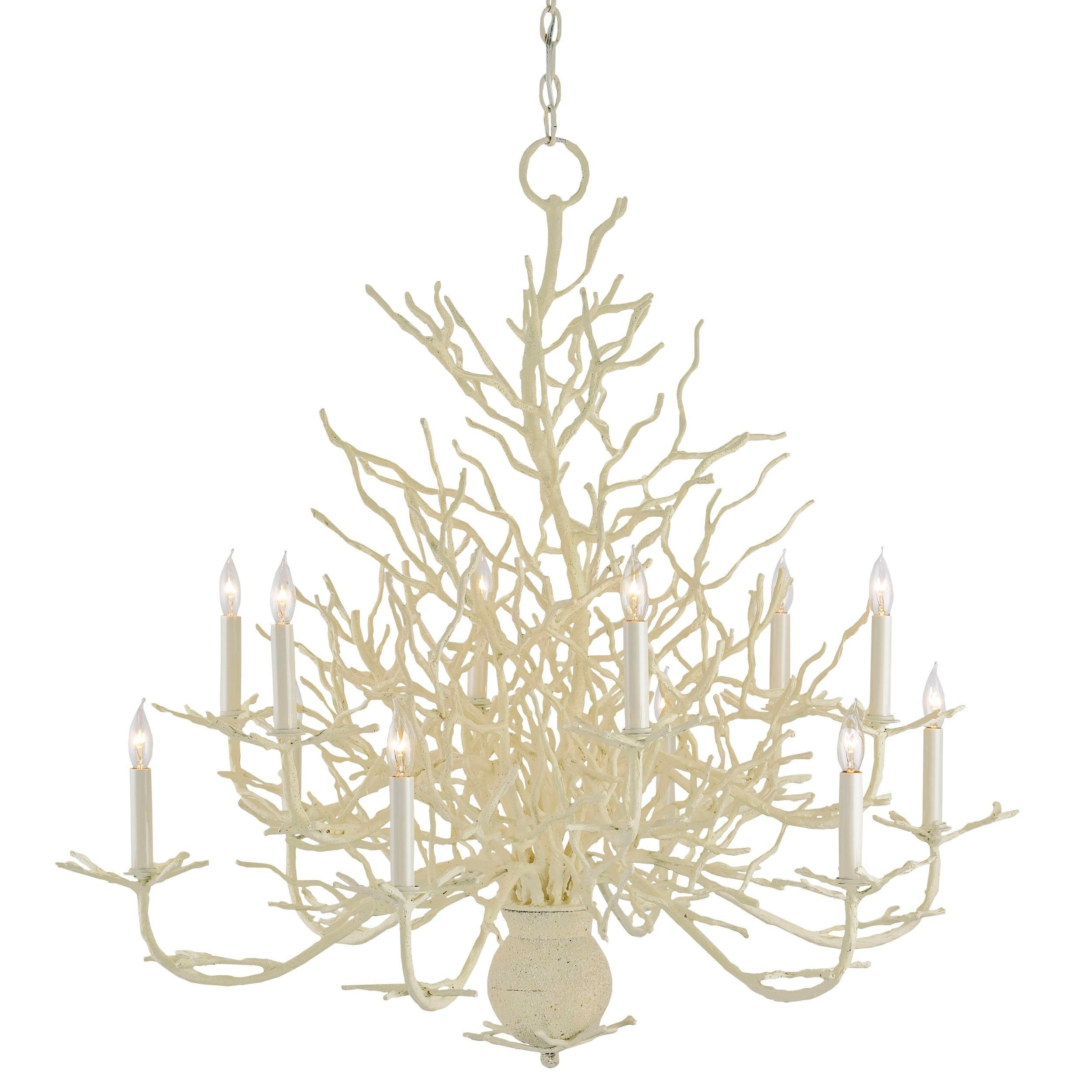 Recall seaside days and summer nights with the spectacular Seaward Chandelier. Wrought iron is realistically transformed to resemble White coral, then enhanced with an incredibly natural application of sand. This fresh, large-scale design will dress up any coastally-inspired home.    Number of bulbs: 12  Chain length: 6 feet    As seen in Traditional Home July/August 2014 Issue. **refer to photo 2**