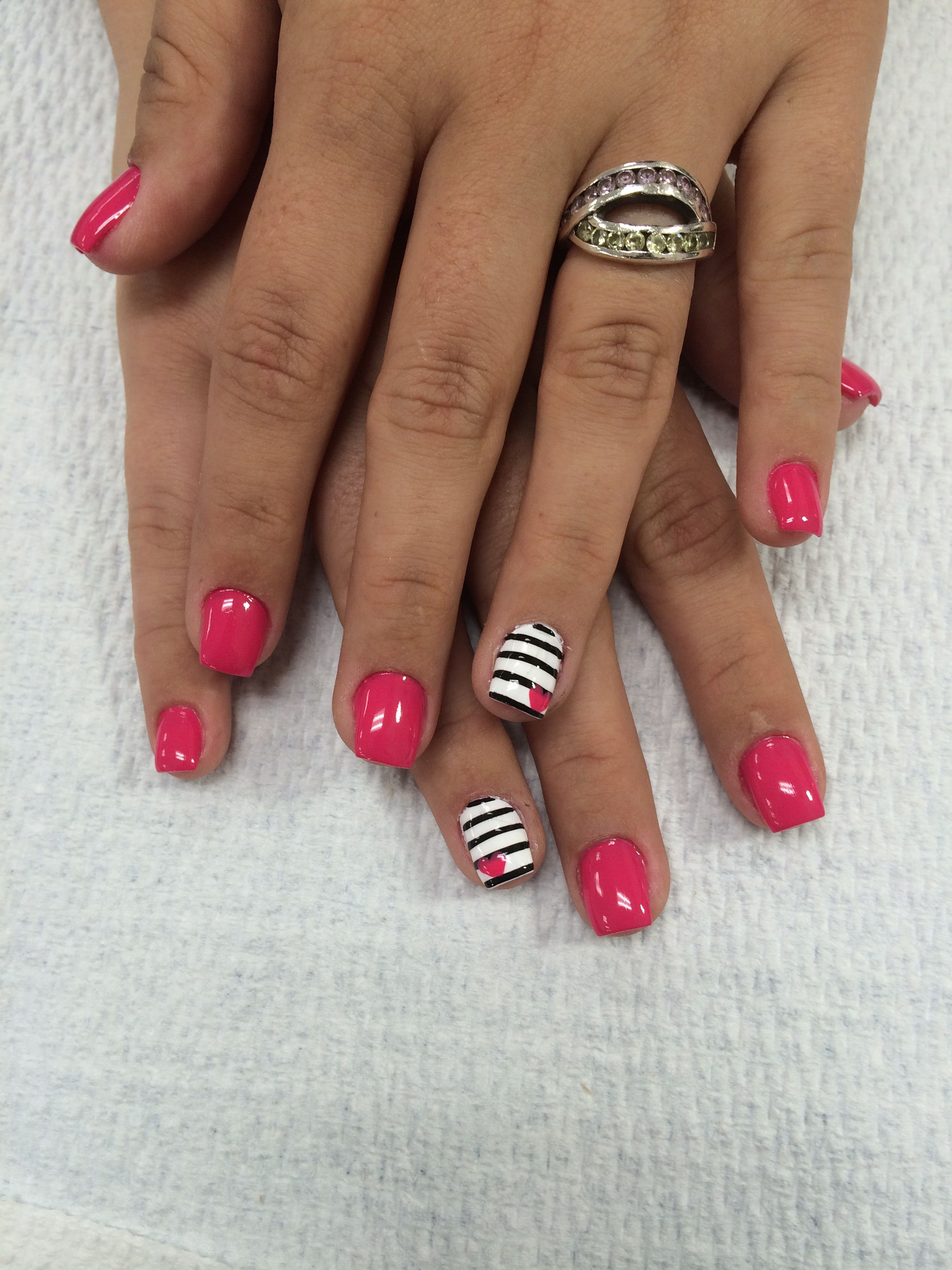 Nails by Rebeca OPI strawberry margarita with striped nail art | My ...