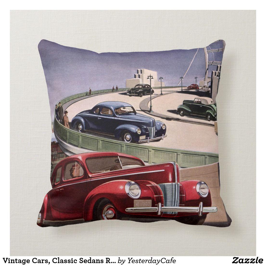 Vintage Cars, Classic Sedans Road Trip on Freeway Throw Pillow | Zazzle.com