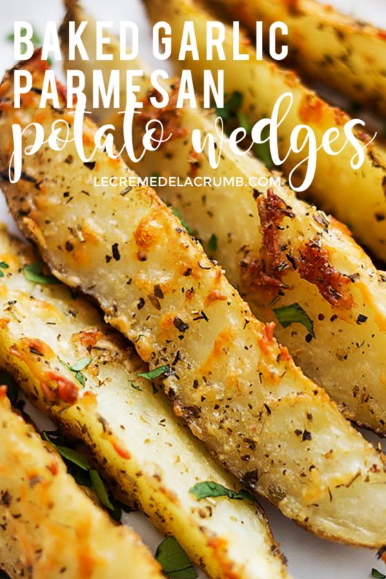 Baked Garlic Parmesan Potato Wedges -  This easy recipe for Baked Garlic Parmesan Potato Wedges wil