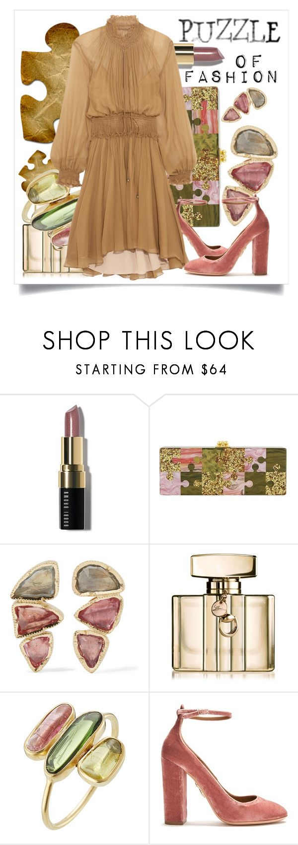 """Puzzle of Fashion"" by capricat ❤ liked on Polyvore featuring Bobbi Brown Cosmetics, Edie Parker, BROOKE GREGSON, Gucci, Pippa Small, Aquazzura and Chloé"