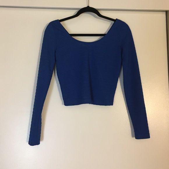 Material Girl Crop Top Super cute, perfect condition blue long sleeve crop top Material Girl Tops Crop Tops
