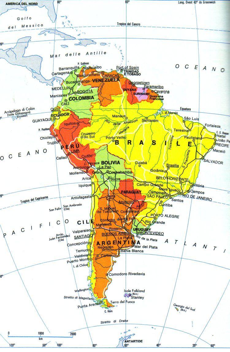 Cartina Politica Usa Da Stampare.Pin Di Eli Su El Sur De America America Sud America America Latina