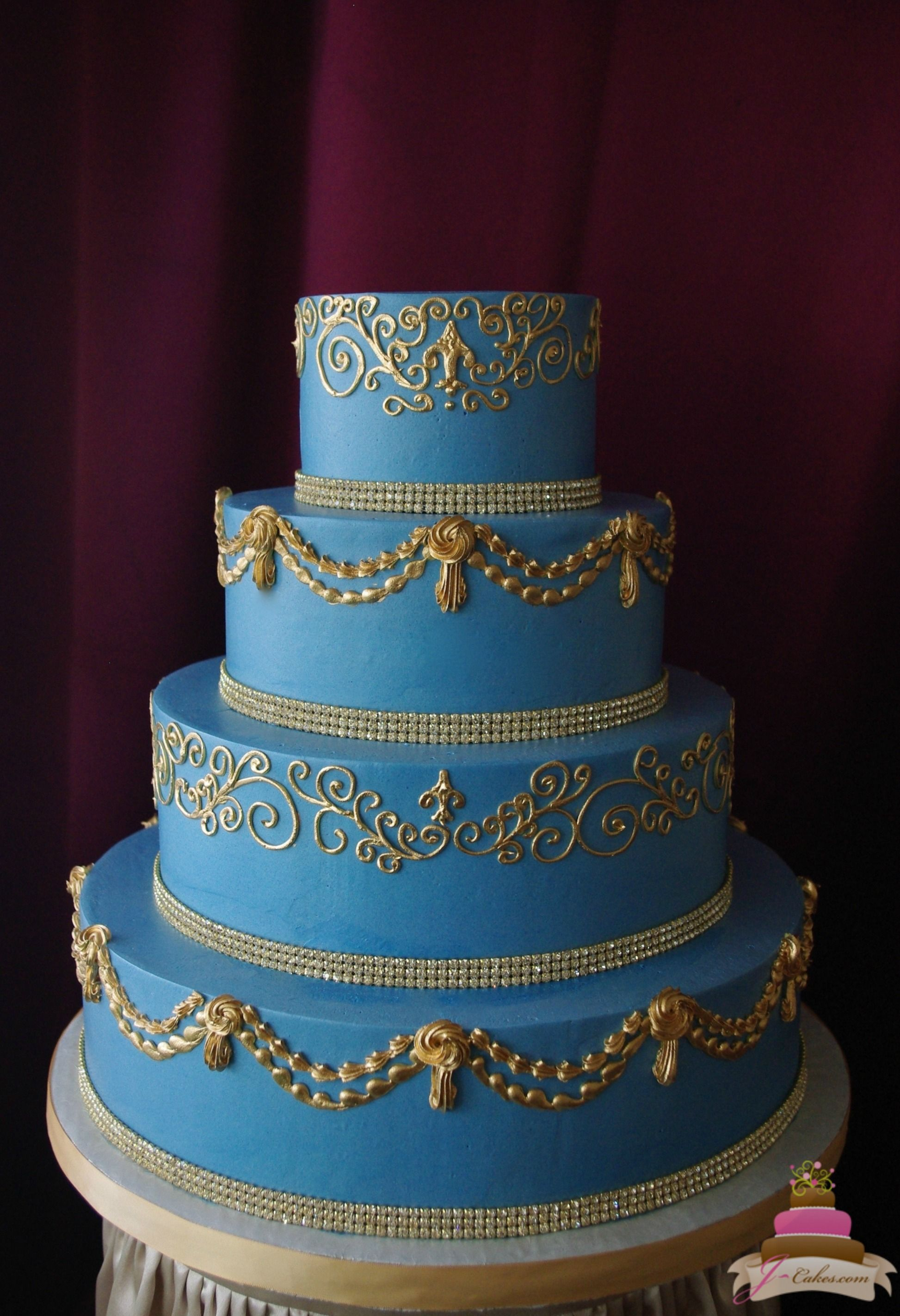 1145 French Blue And Gold Wedding Cake