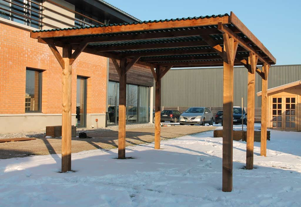 Carport Bois Enzo 1 Voiture Teinté Marron (3x5,1x2,33