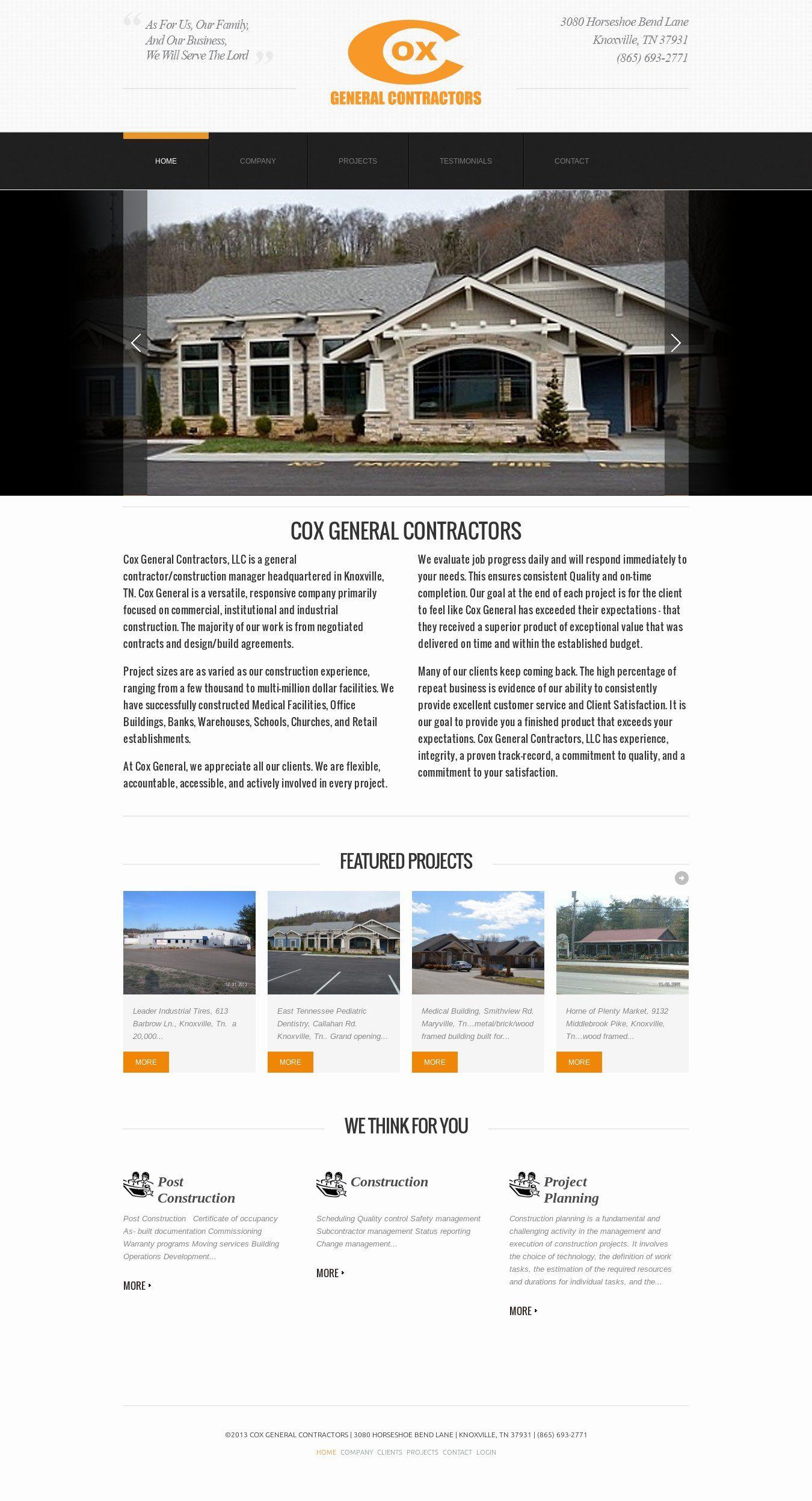 WordPress site coxgeneral.com uses the theme1629 wordpress template ...