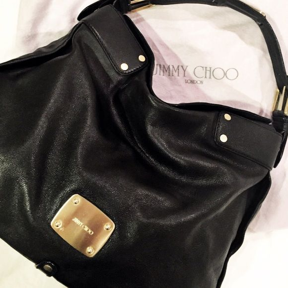 78830007b71 Black Jimmy Choo hobo bag Authentic Jimmy Choo hobo bag. Purchased from  Net-a-Porter. Black hobo with thick strap with gold buckles.