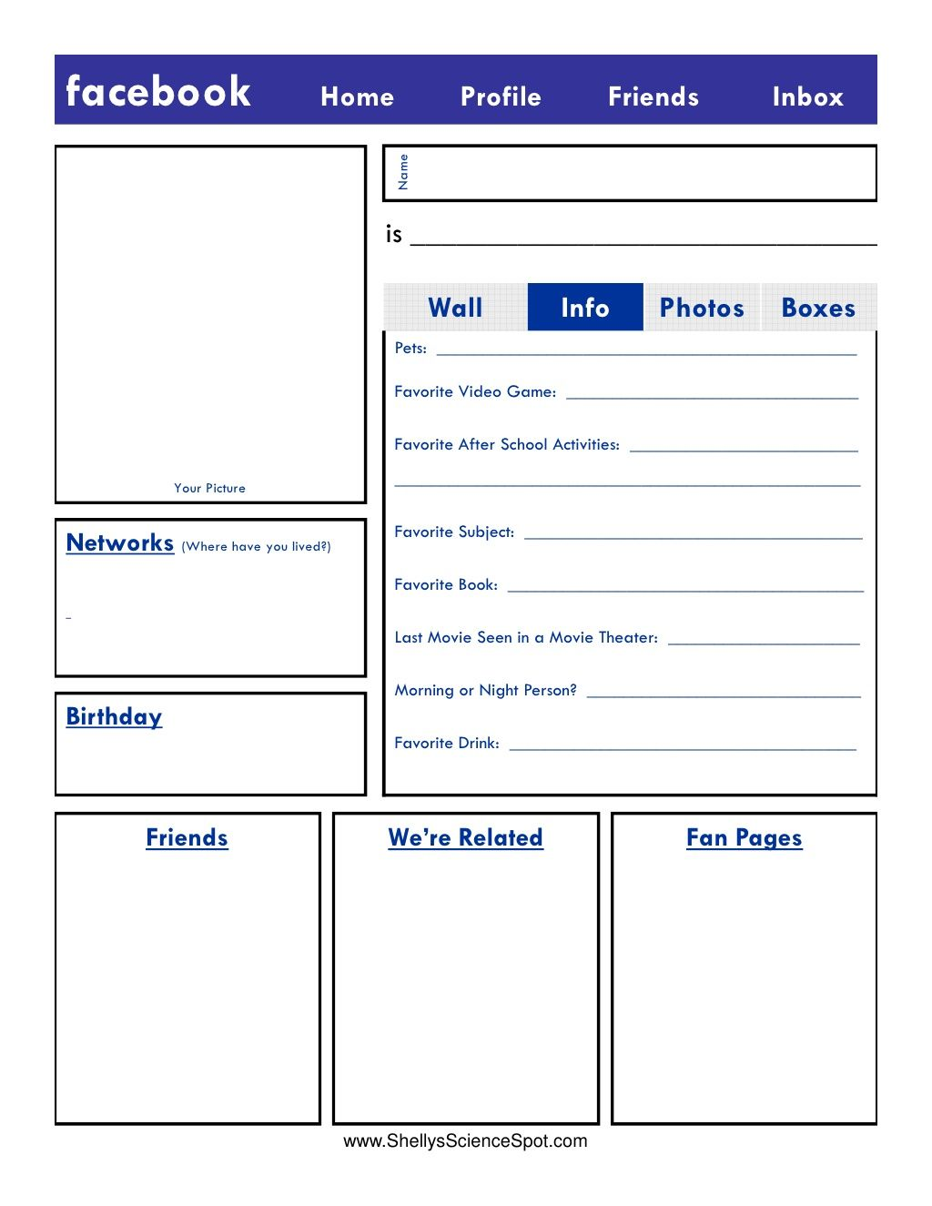 Blank Facebook Page By Mrs Henley Via Slideshare