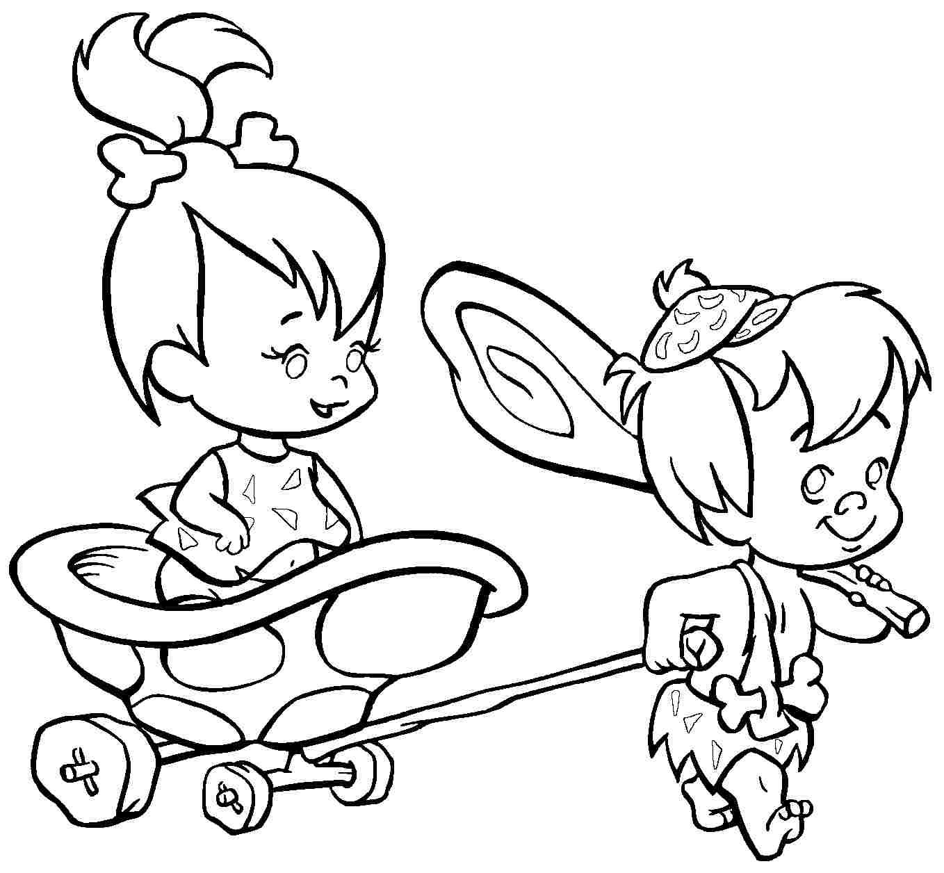 Pebbles And Bambam Coloring Pages Download And Print For Free Cartoon Coloring Pages Disney Coloring Pages Coloring Books