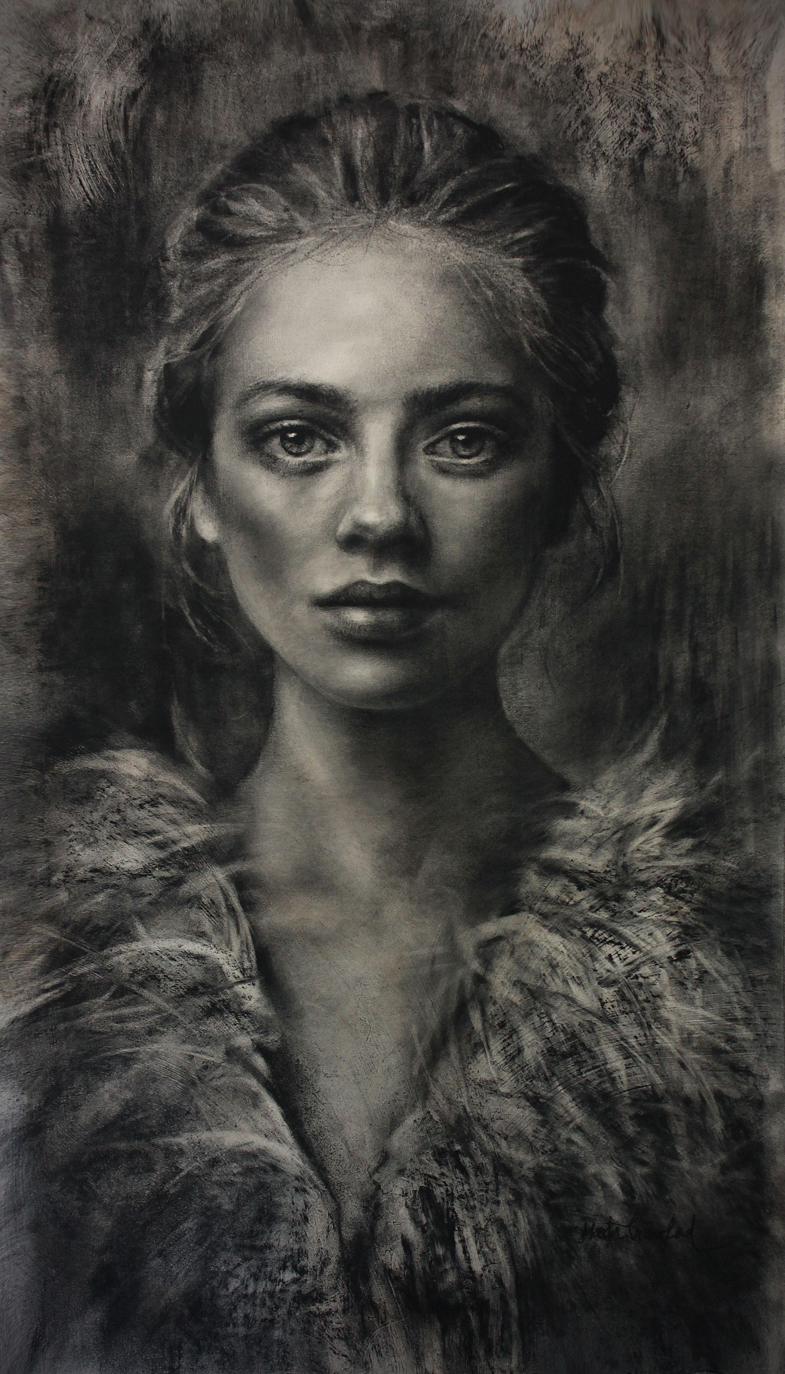 Рисунок углем портрет фото