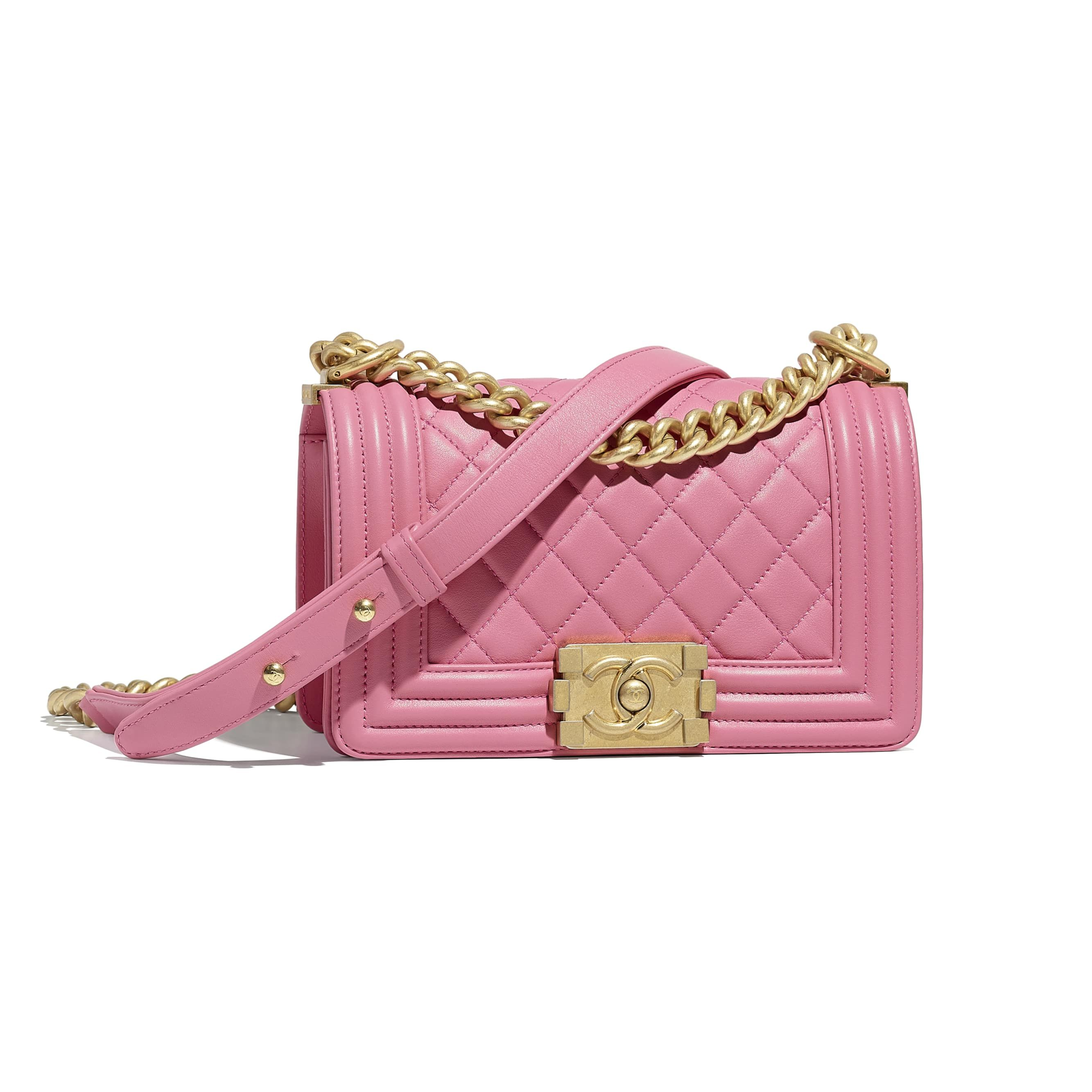 f55dd030764e94 Small BOY CHANEL Handbag - Pink - Calfskin & Gold-Tone Metal - Default view  - see standard sized version