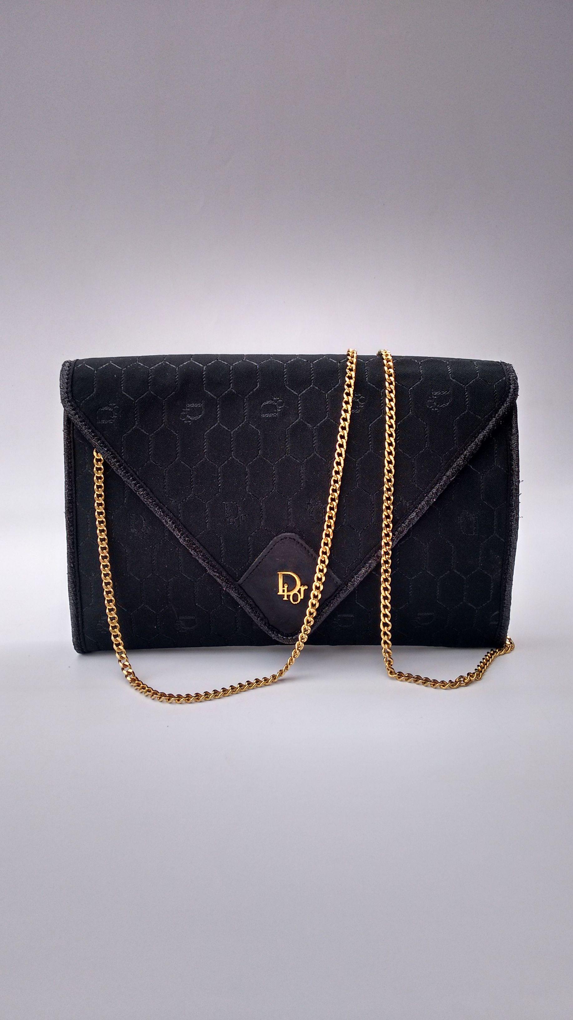 Dior Vintage Black Monogrammed Shoulder Crossbody Bag French Designer Purse