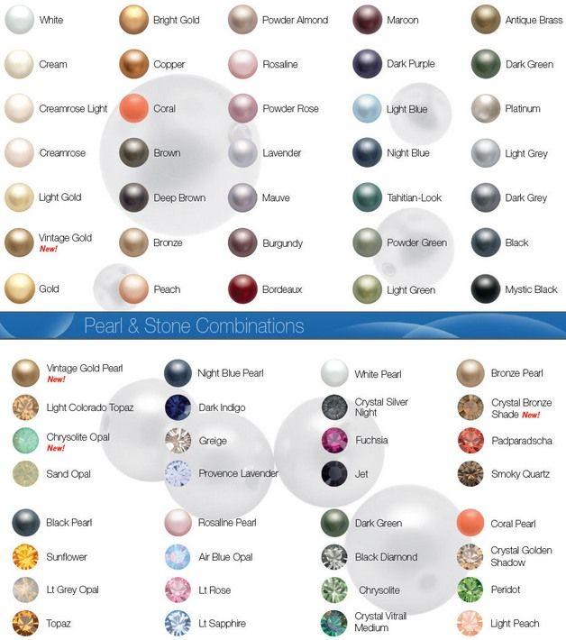Swarovski Crystal Pearl Colour Chart Crystal Pearls Pearls Crystals