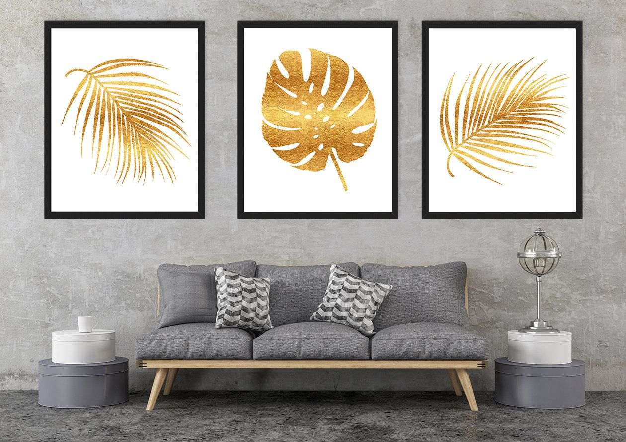 Gold tropical leaves, Gold foil palm leaves, Gold prints, Palm