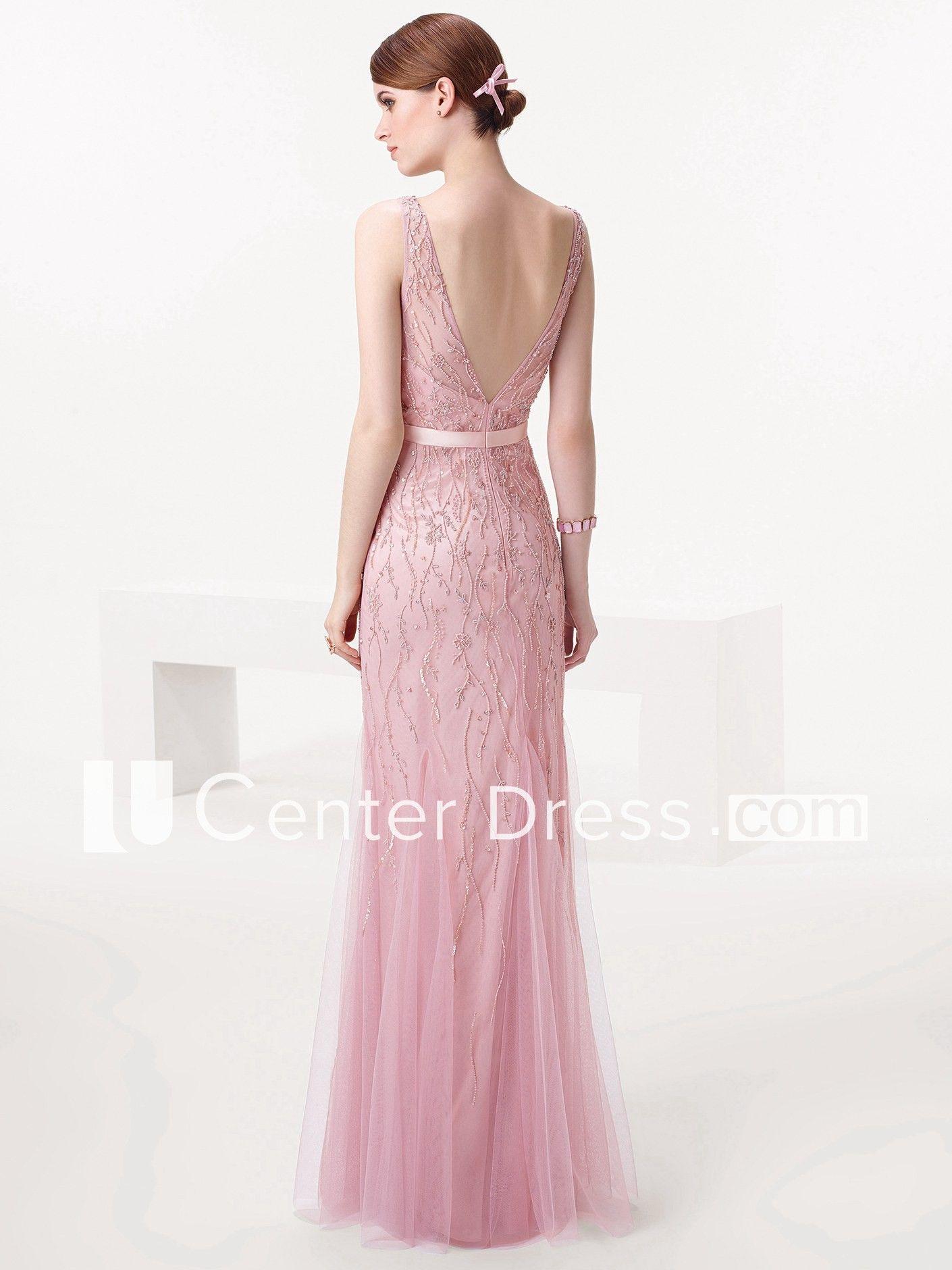 c5d7b8885c32 Sheath Sleeveless Floor-Length Beaded V-Neck Tulle Prom Dress in 2019