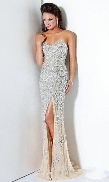 Champagne Strapless Long Formal Dresses