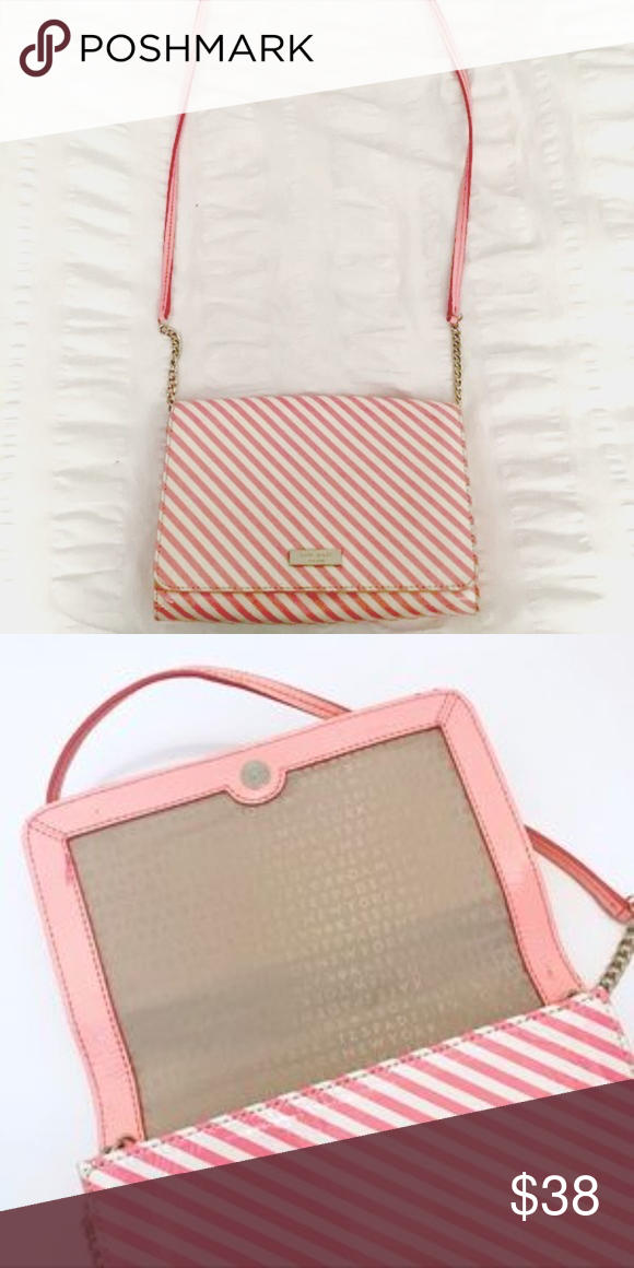 kate spade pink and white striped bag
