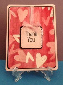 Thank you card using watercolor paints and batik technique