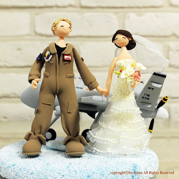 Air Force Pilot Wedding Cake Topper Decoration Gift By Annacrafts