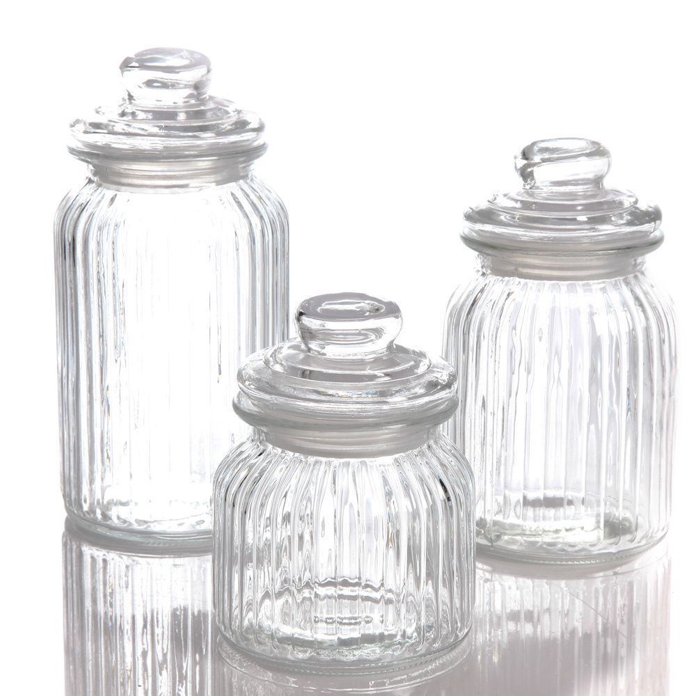 Kitchen canisters glass  in style with the Great Foundations piece canister set from Gibson