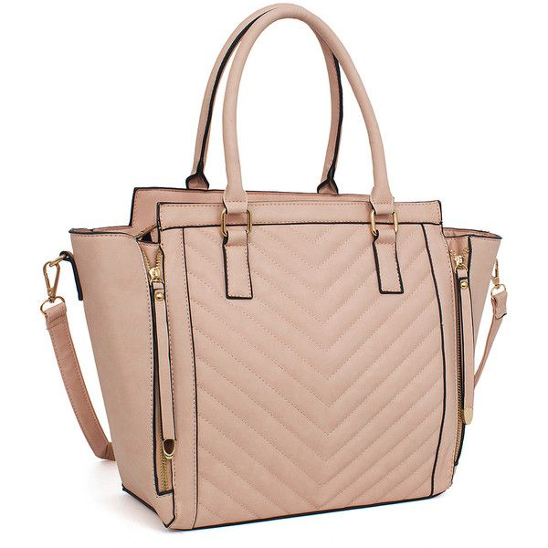 Rebecca Rifka Peach Quilted Zip Accent Satchel 35 Liked On Polyvore