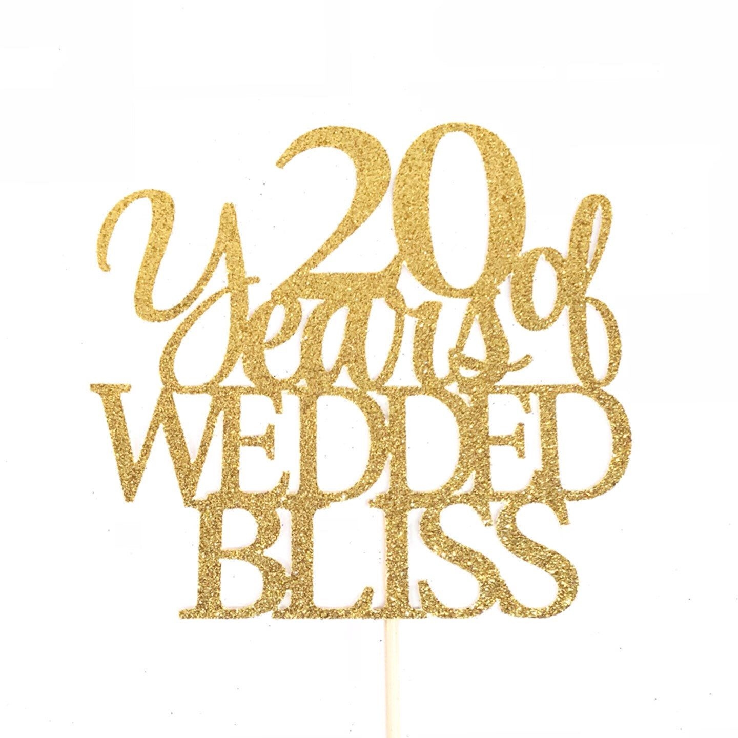 20 Years of Wedded Bliss Cake Topper, 20th Anniversary