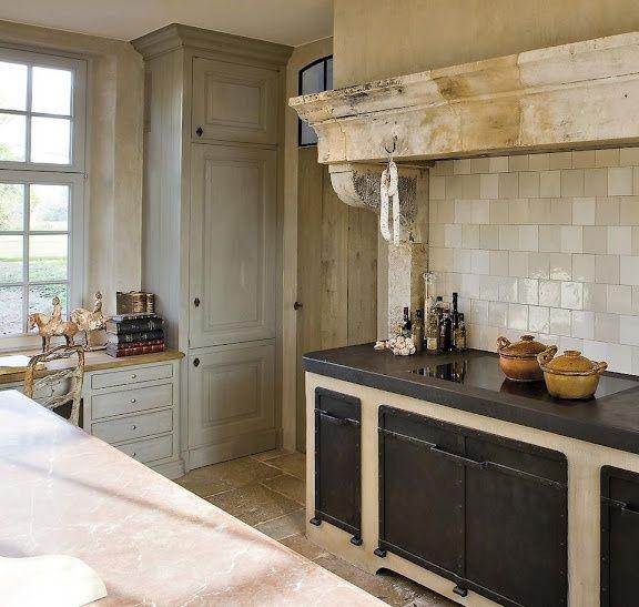 Mediterranean Kitchen Bellevue Wa: Belgian Style Kitchen W/ Range Under Antique Stone
