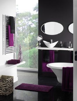 Image Detail For  Contemporary Black And White Bathroom With Purple Accent