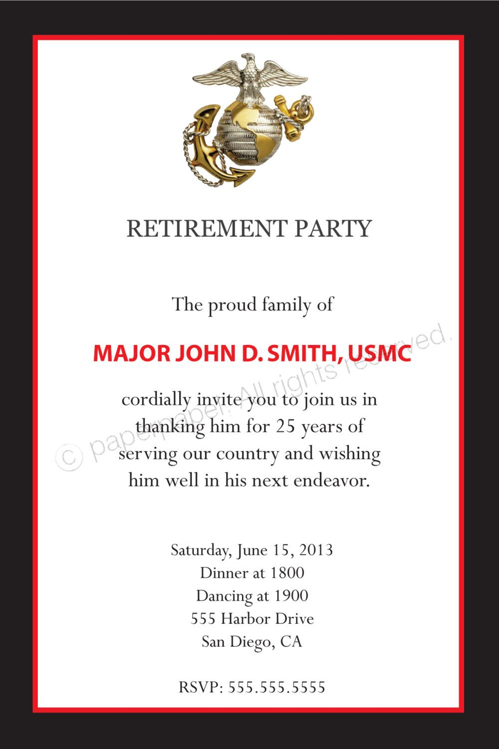 Military Retirement Party (all branches available). $9.00, via Etsy ...
