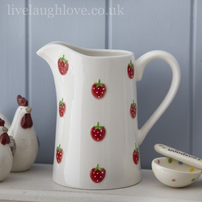 Lovely Glazed Ceramic Jug With Embossed Strawberries.The Perfect Country  Kitchen Addition.