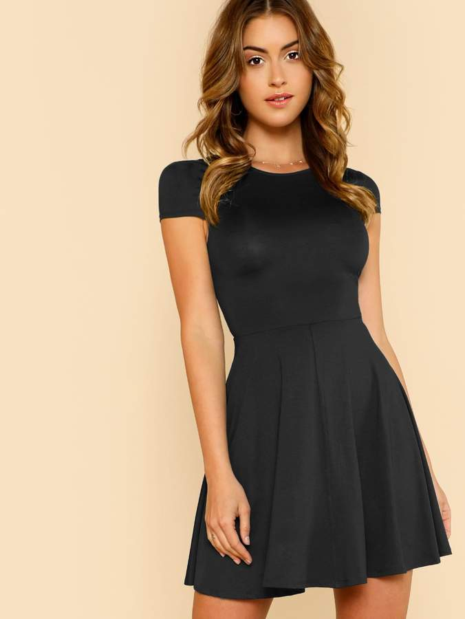 e5aeef309c Shein V Back Skater Dress Party Dresses Online, Designer Party Dresses, Dresses  Uk,