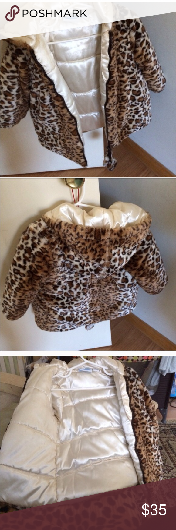 Leopard 3t toddler coat Gently used tassels need to be filled with cotton and sewed.  Tassels can be removed if you don't want to fix them Jackets & Coats