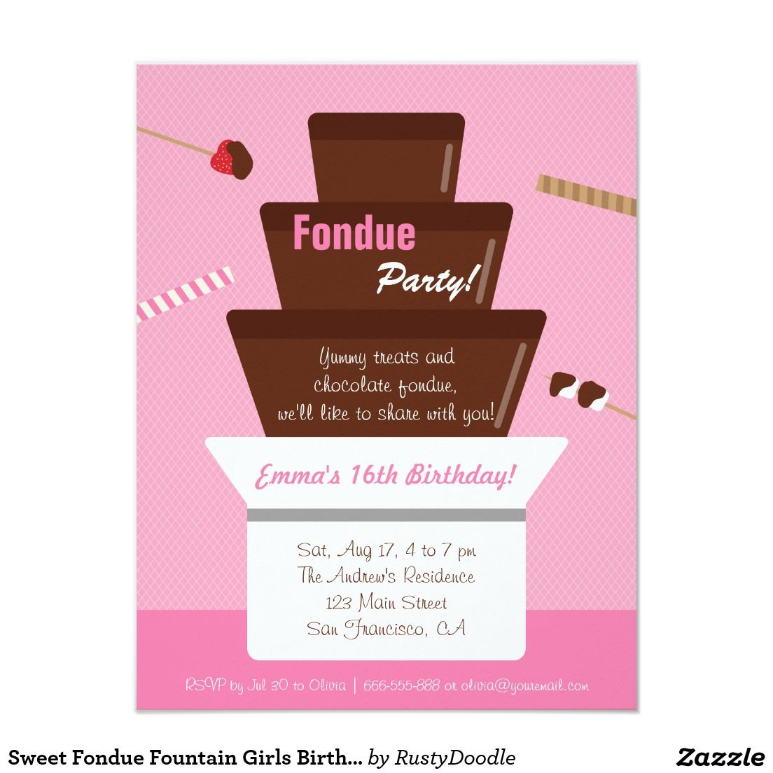 Sweet Fondue Fountain Girls Birthday Party Card | Fondue fountain ...