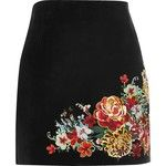 River Island Black suede embroidered mini skirt