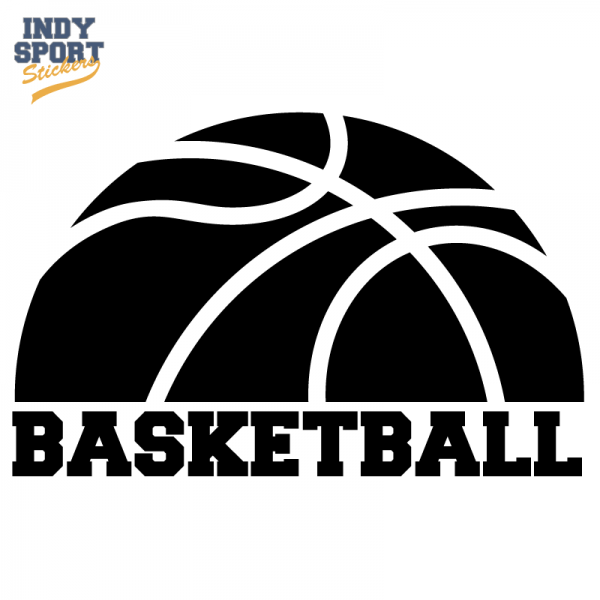 Half Basketball Silhouette with Text Below | Basketball Single Color