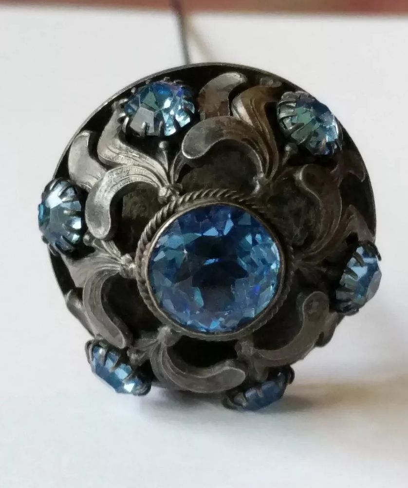 4c6322642037b0 Antique Victorian Blue Glass Jeweled Hat Pin | Hat Pins in 2019 ...
