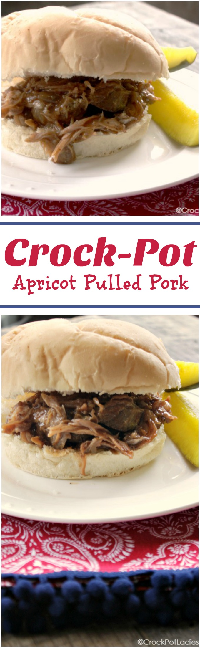 With just 5 simple ingredients this recipe for Crock-Pot Apricot Pulled Pork is a family favorite where the fruity apricot flavor really shines through with both apricot fruit spread and dried apricots added to the pot! #CrockPot #SlowCooker #Recipe #Pork #PulledPork #Easy #GlutenFree #LowCarb #LowSugar #5IngredientsOrLess #CrockPotLadies