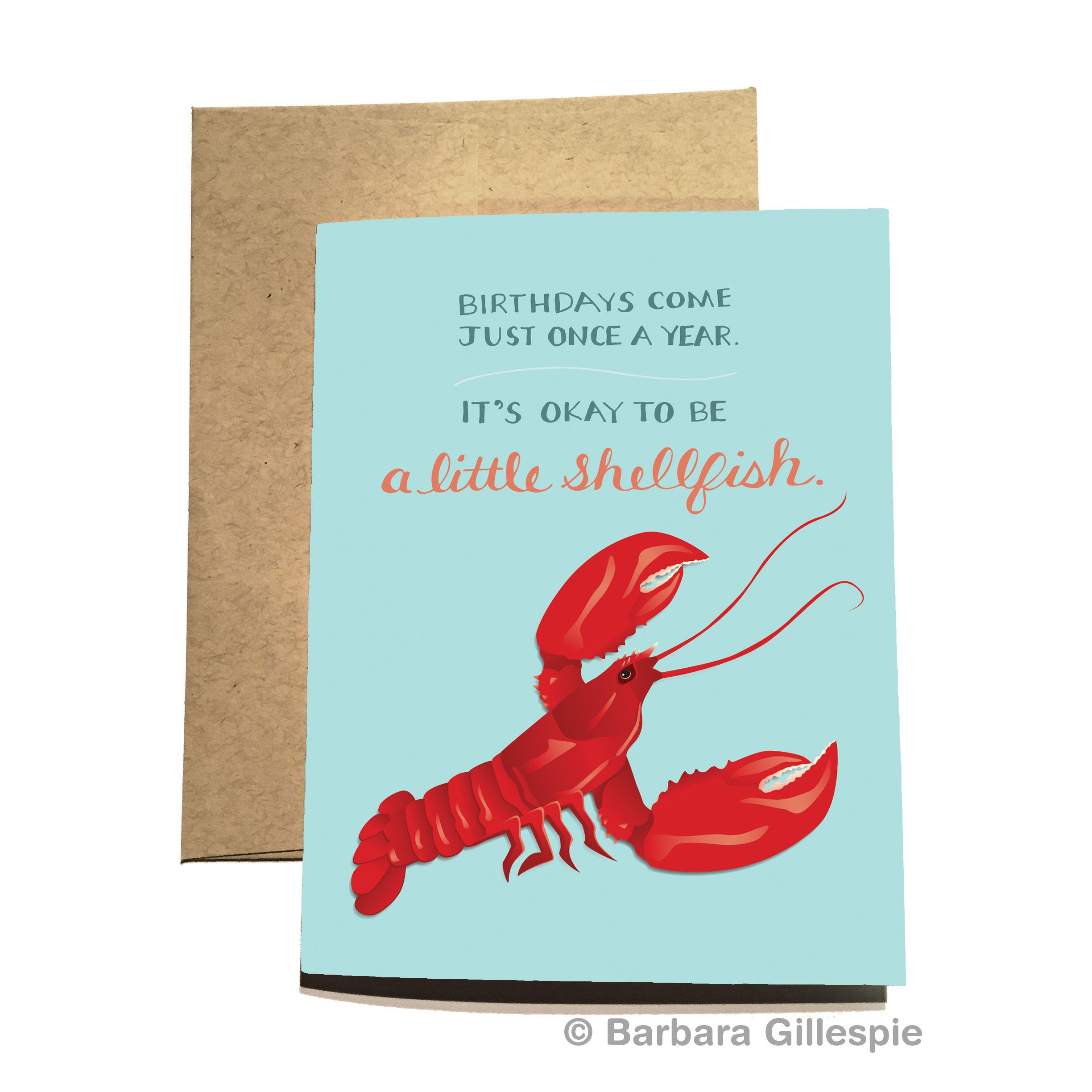 Lobster birthday card its okay to be a little shellfish
