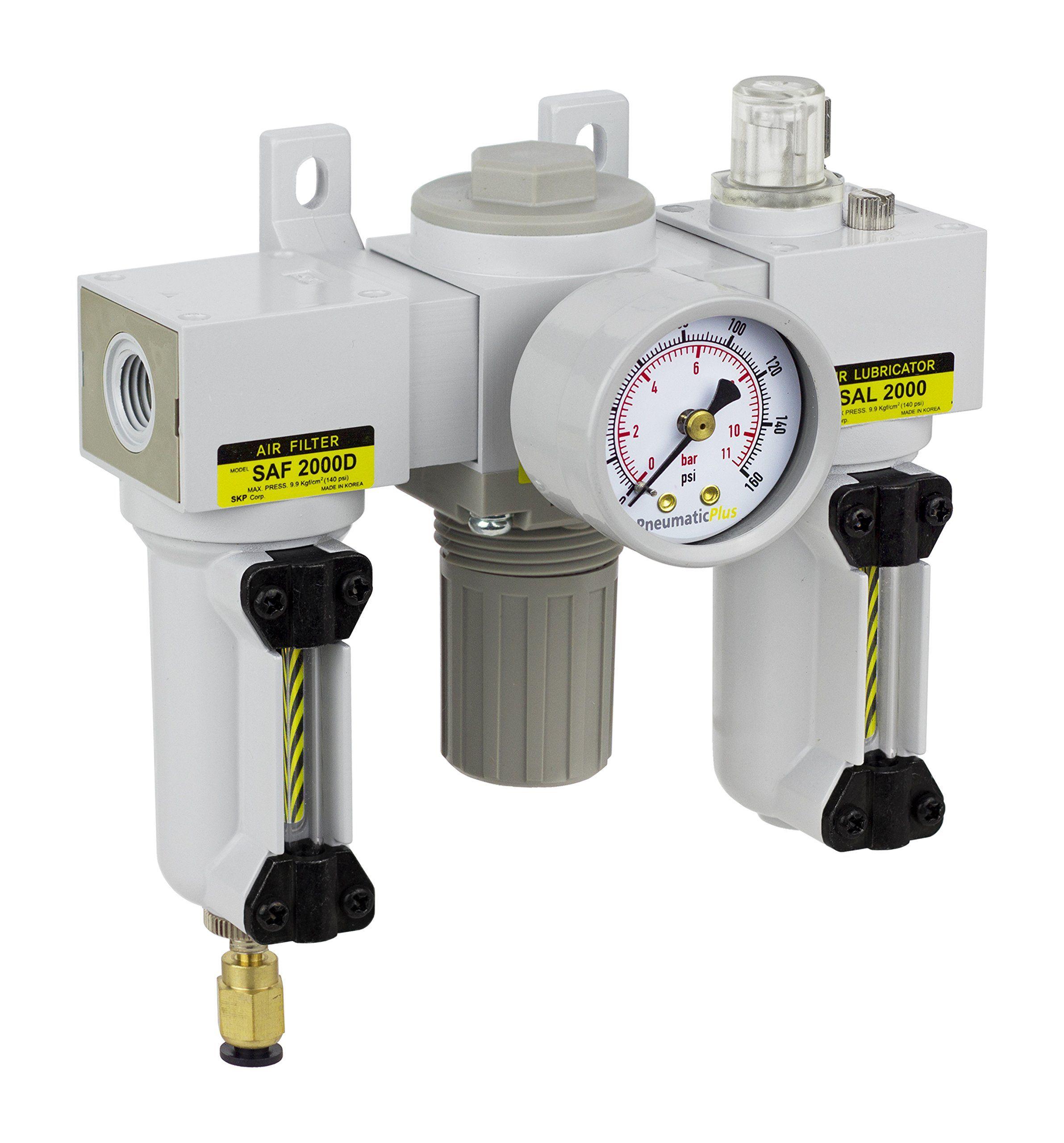 Pneumaticplus Sau2000mn02dgmep Mini Threeunit Combo Compressed Air Filter Regulator Lubricator Frl Air Preparat Air Filter Compressed Air Compressed Air Filter
