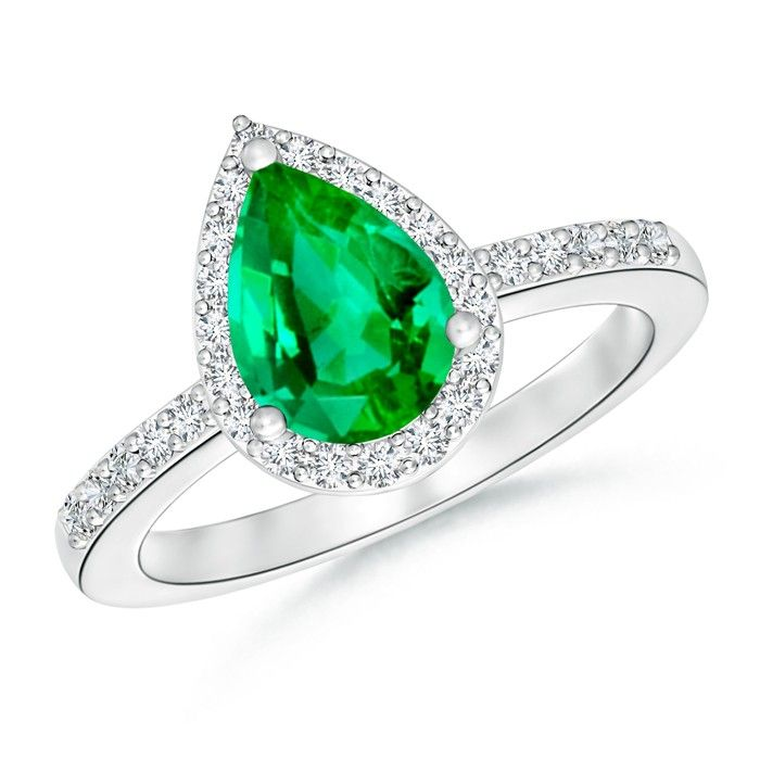 Angara Cushion Emerald Engagement Ring with Diamonds in Platinum yrJLXUs